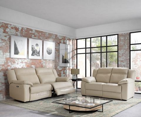 Salon en PU gris clair ou anthracite avec 2 relax électriques ...