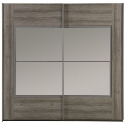 Garde-robe 2 portes coulissantes dont 2 miroirs  (220 x 215 x 62 cm)