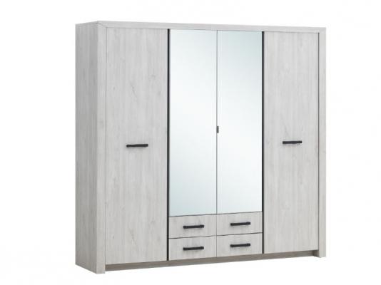 Garde-robe 4 portes et 4 tiroirs avec 2 miroirs