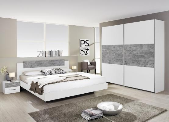 Chambre à coucher finition blanc et gris bêton - Meubles ...