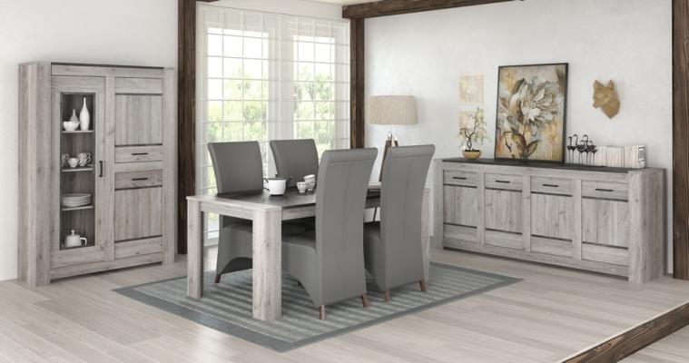 Salle-à-manger complète finition chêne gris et graphite ...