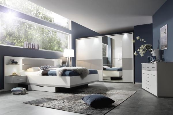 Chambre à coucher finition blanc et gris clair - Meubles ...